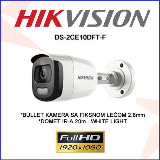 Camera Hikvision DS-2CE72DFT-F thân trụ ngoài trời 2M có màu 24/24