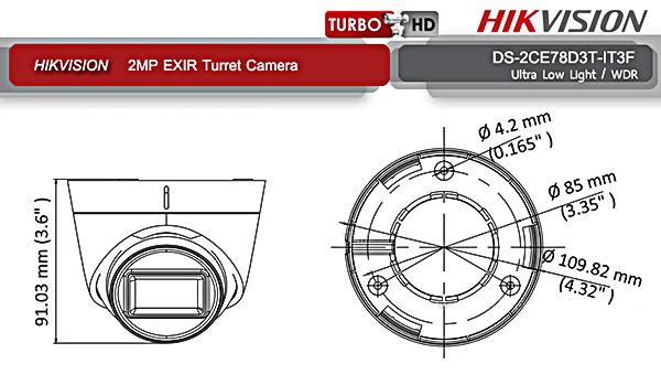 Ống kính tiêu cự F3.6mm (6mm tùy chọn) đem đến hình ảnh sắc nét