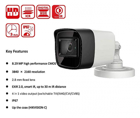 Camera Hikvision DS-2CE16U1T-ITPF 8.3Mp HD-TVI Ultra HD 4K