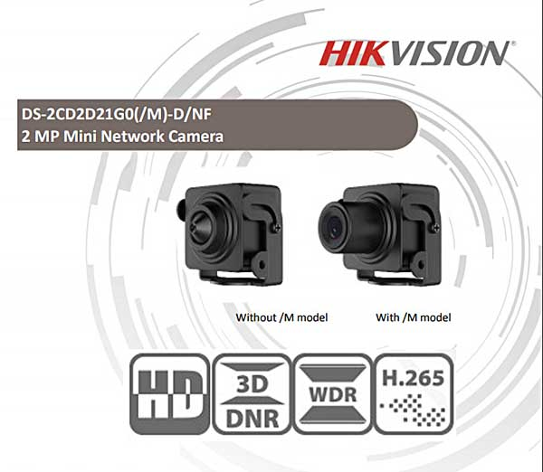 DS-2CD2D21G0/M-D/NF thiết kế nhỏ gọn, tính năng thông minh