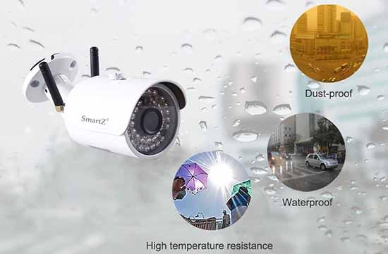 Camera ngoài trời chống chịu tốt với các tác động của môi trường như nắng, mưa, khói, bụi…
