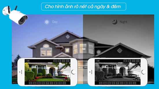 Camera wifi ngoài trời có hình ảnh quan sát sắc nét đêm ngày, tầm xa ban đêm lên đến 15m