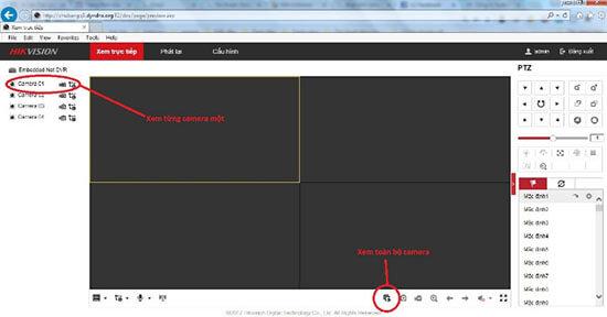 Giao diện đăng nhập xem camera Hikvision trên web