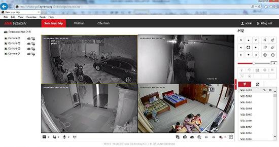 Hình ảnh thực tế xem camera Hikvision trên máy tính vào ban đêm