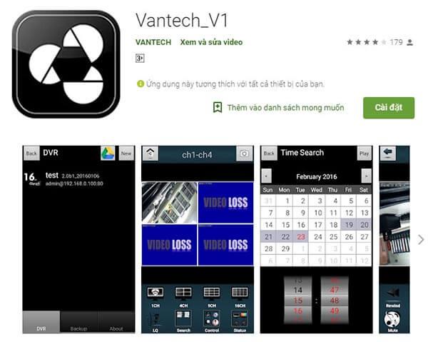 Ứng dụng camera Vantech v1 trên điện thoại