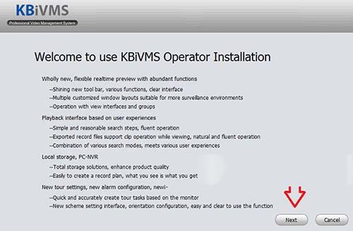 Màn hình của bạn sẽ hiện ra, tiến hành cài đặt KBiVMS