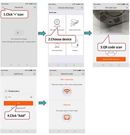 Quét mã QR và thêm ID thiết bị, và nhập giao diện kết nối mạng