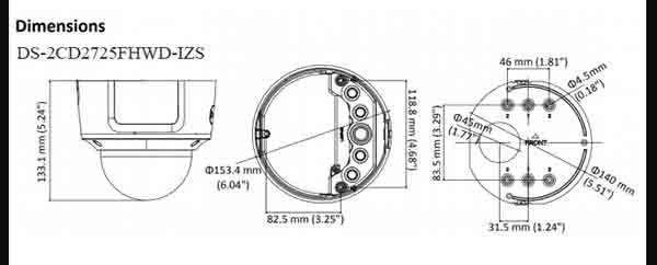 Bảng vẻ thiết kế ống kính của Hikvisiom DS-2CD2725FHWD-IZS giúp khả năng quan sát rộng