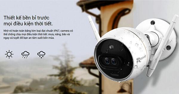 Camera EZVIZC3X thiết kế bền bỉ trước mọi điều kiện thời tiết