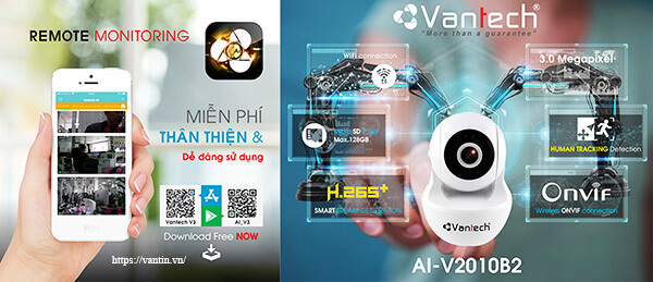Tính năng Camera IP Wifi Robot 3MP Vantech AI-V2010B2
