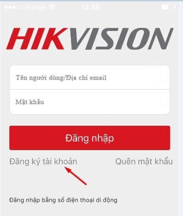 đăng kí tài khoản Hik-connect