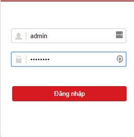 gõ user và pass của tài khoản đăng nhập đầu ghi