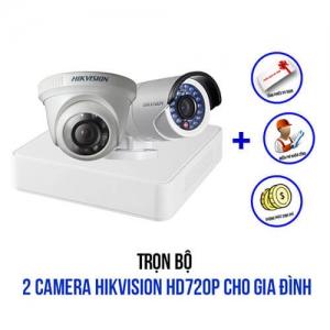 Trọn bộ 2 camera HIKVISION HD720P cho gia đình