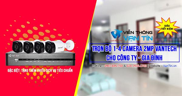 Lắp đặt Trọn Bộ 4 Camera Vantech 2MP Cho Công Ty, Gia đình