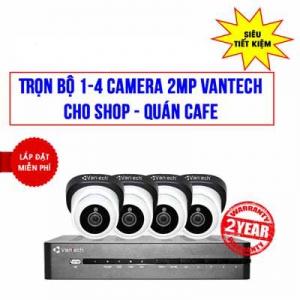 Trọn Bộ 4 Camera VANTECH 2MP Cho Cửa Hàng, Quán Cafe