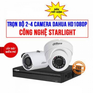 Trọn Bộ 2 Camera HDCVI Starlight Dahua HD1080P Cho Cửa Hàng