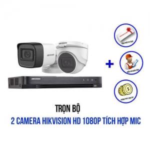 Trọn bộ 2 camera HIKVISION HD1080P có tích hợp Mic