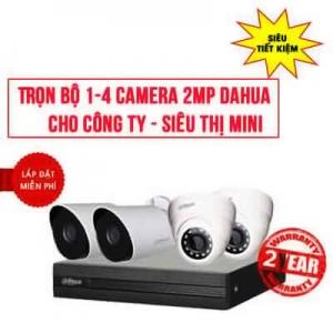 Trọn bộ 1-4 camera DAHUA 2MP cho Công ty – Siêu thị mini