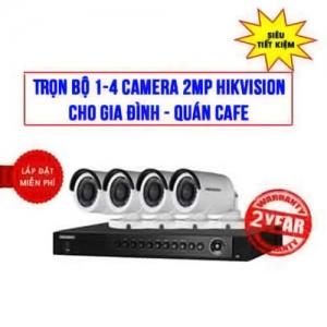 Trọn bộ 1-4 camera 2MP HIKVISION cho Gia đình – Quán cafe