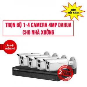 Trọn Bộ 4 Camera Thân DAHUA 4MP Cho Nhà Xưởng