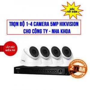 Trọn bộ 1-4 camera Hikvision 5MP cho Công ty – Nha khoa