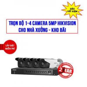 Trọn Bộ 1-4 camera 5MP Hikvision Cho Nhà xưởng, Kho bãi