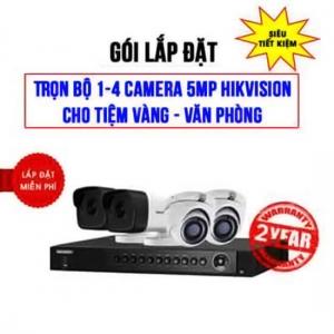 Giá bán Trọn bộ 1-4 camera 5MP HIKVISION cho Tiệm vàng – Văn phòng