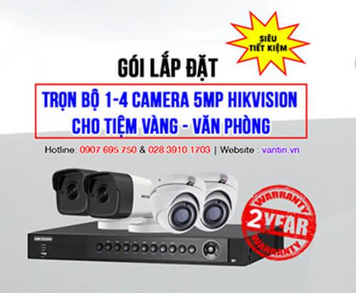 Trọn bộ 1-4 camera 5MP HIKVISION cho Tiệm vàng – Văn phòng