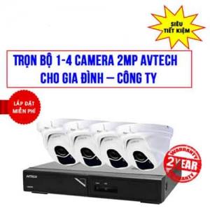 Trọn Bộ 1-4 Camera AVTECH 2.0MP Cho Công ty, Nhà Ở