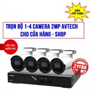 Trọn bộ 1-4 camera 2MP AVTECH cho Cửa hàng