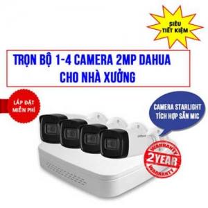 Trọn Bộ 1-4 Camera Starlight Dahua 2.0MP Cho Nhà xưởng