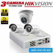 Trọn Bộ 3 Camera HDTVI Hikvision 2.0MP Gói Lắp Đặt VT-HIK132M