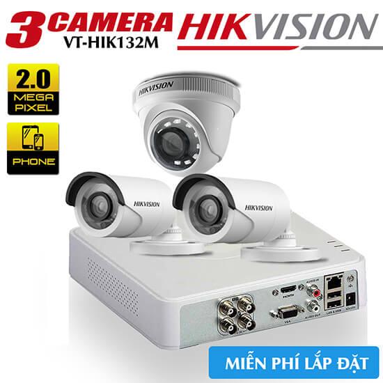 Bộ 3 Camera HDTVI Hikvision 2.0MP Gói Lắp Đặt VT-HIK132M