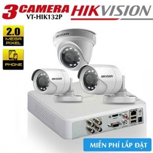 Trọn bộ 3 camera HIKVISION HDTVI 2MP vỏ nhựa gói VT-HIK132P