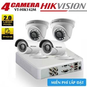 Trọn bộ 4 camera HIKVISION HDTVI 2MP vỏ sắt gói VT-HIK142M