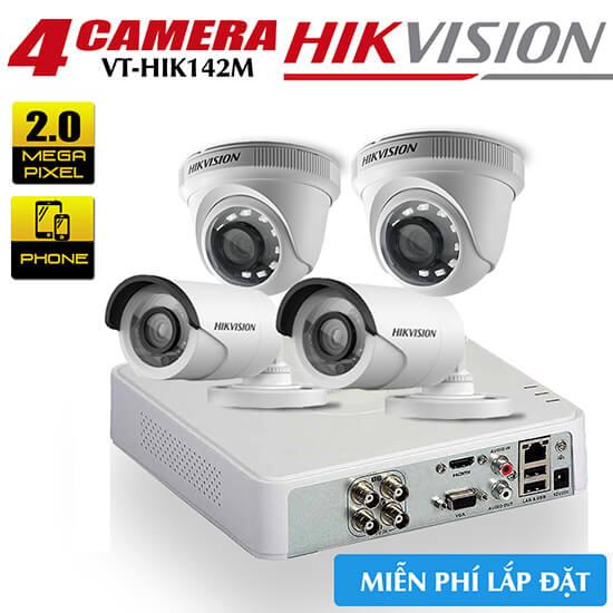 Bộ 4 Camera HDTVI Hikvision 2.0MP Gói Lắp Đặt VT-HIK142M