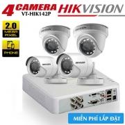 Trọn bộ 4 camera HIKVISION HDTVI 2MP vỏ sắt gói VT-HIK142P