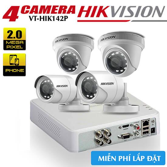 Bộ 4 Camera HDTVI Hikvision 2MP Gói Lắp Đặt VT-HIK142P