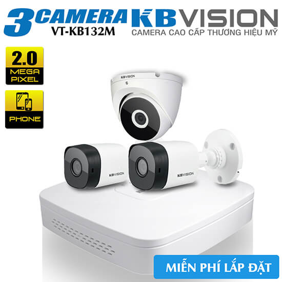 Trọn Bộ 3 Camera KBvision 2MP Vỏ Kim Loại Gói VT-KB132M