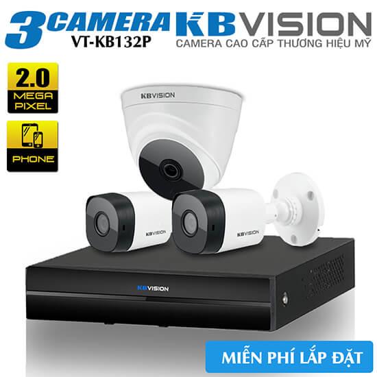 Trọn Bộ 3 Camera HDCVI KBvision 2.0MP Gói Lắp Đặt VT-KB132P
