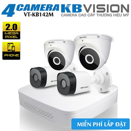 Bộ 4 Camera 2MP KBvision Vỏ Kim Loại Gói VT-KB142M