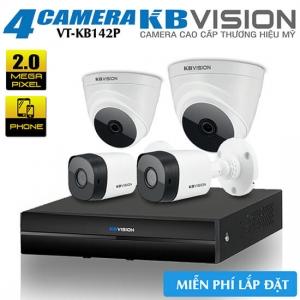 Trọn Bộ 4 Camera 2.0 Megapixel KBvision Gói Lắp Đặt VT-KB142P
