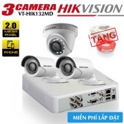 Trọn Bộ 3 Camera Hikvision HDTVI 2.0MP Gói Lắp Đặt VT-HIK132MD