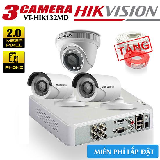 Bộ 3 Camera Hikvision HDTVI 2.0MP Gói Lắp Đặt VT-HIK132MD