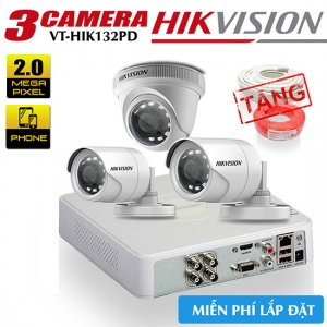 Trọn bộ cameraHikvision 2.0MP công nghệ HD-TVI gói lắp đặt VT-HIK312PD