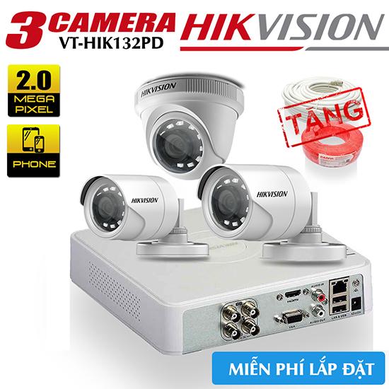 Bộ 3 Camera HD-TVI Hikvision 2MP Gói VT-HIK312PD