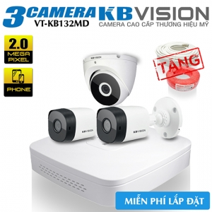 Trọn Bộ 3 Camera 2MP KBvision Vỏ Kim Loại Gói VT-KB132MD