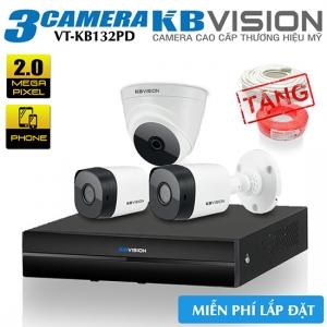 Trọn Bộ 3 Camera KBvision 2.0 MP Gói Lắp Đặt VT-KB132PD