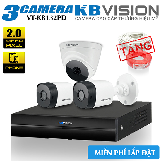 Bộ 3 Camera KBvision 2.0 MP Gói Lắp Đặt VT-KB132PD