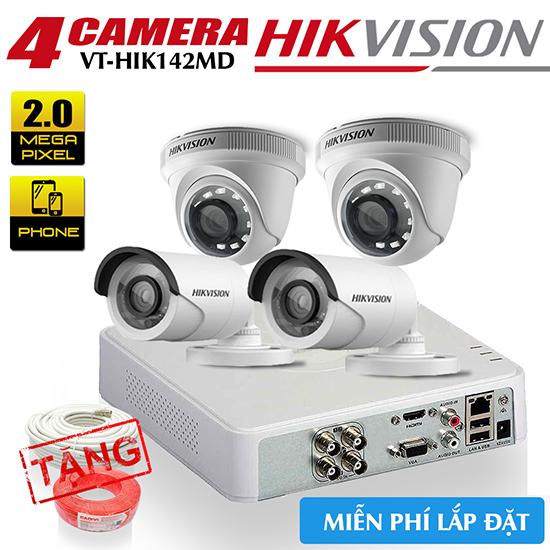 Trọn Bộ 4 Camera HDTVI Hikvision 2.0MP Gói Lắp Đặt VT-HIK142MD